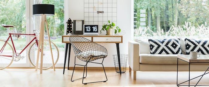 Metal chair in freelancer's room
