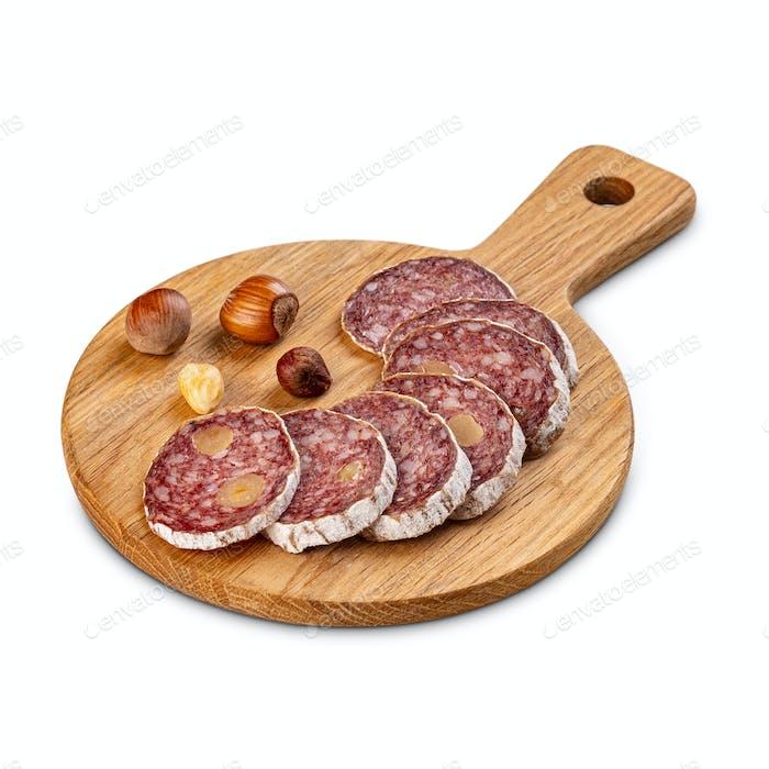 Gourmet salami with filbert