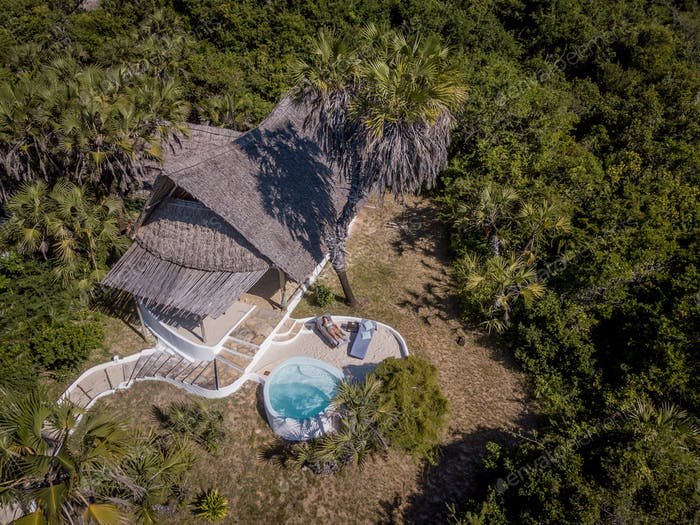 Drone picture of a room with pool in the forest.