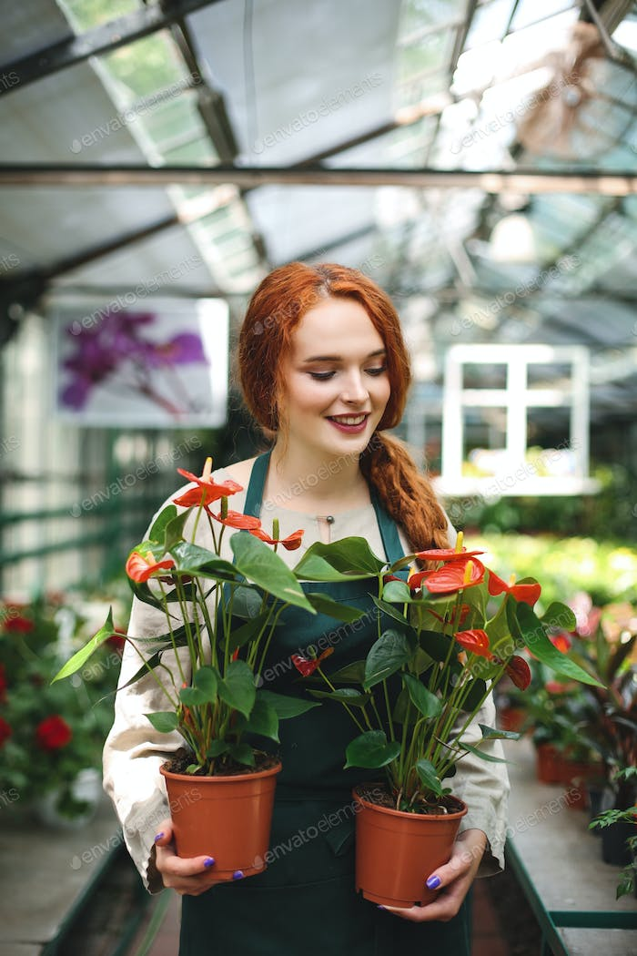 Beautiful smiling florist in apron standing with two flowers in pots and dreamily closing her eyes