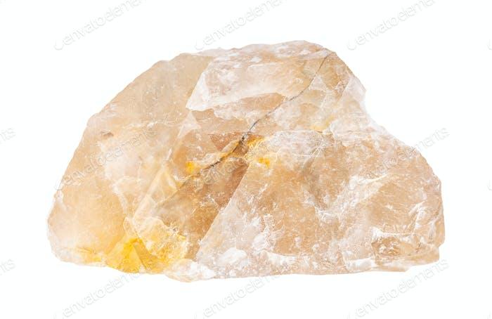raw yellow Fluorite (fluorspar) rock isolated