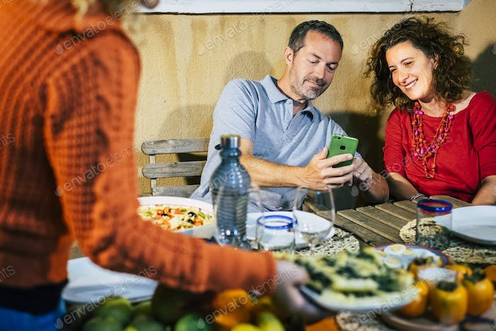 Couple enjoy together contents from smart phone