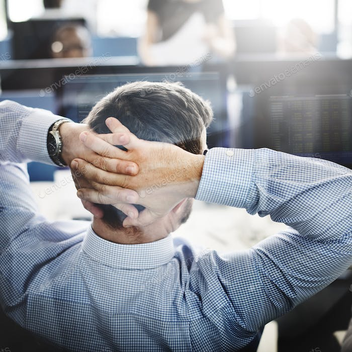 Businessman Stress Investment Stock Trading Concept
