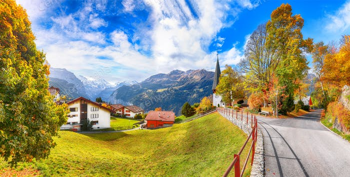 Astonishing autumn view of picturesque alpine village Wengen.