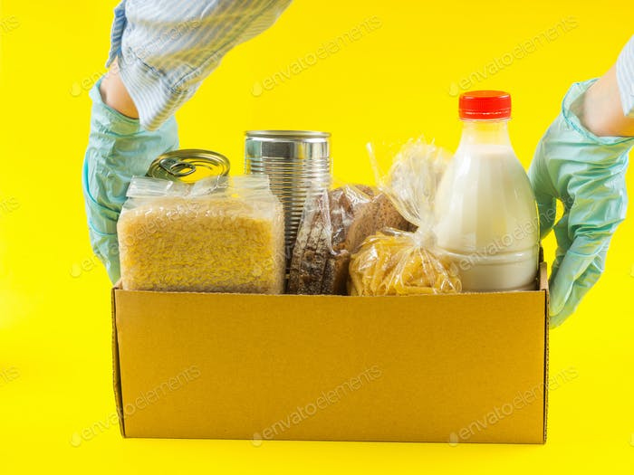 Food staples delivery or donation box concept