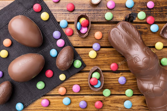 Delicious Easter chocolate bunny, eggs and sweets