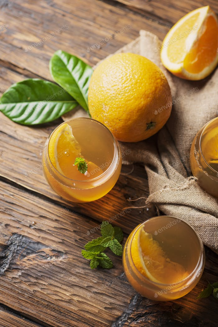Cold tea with orange