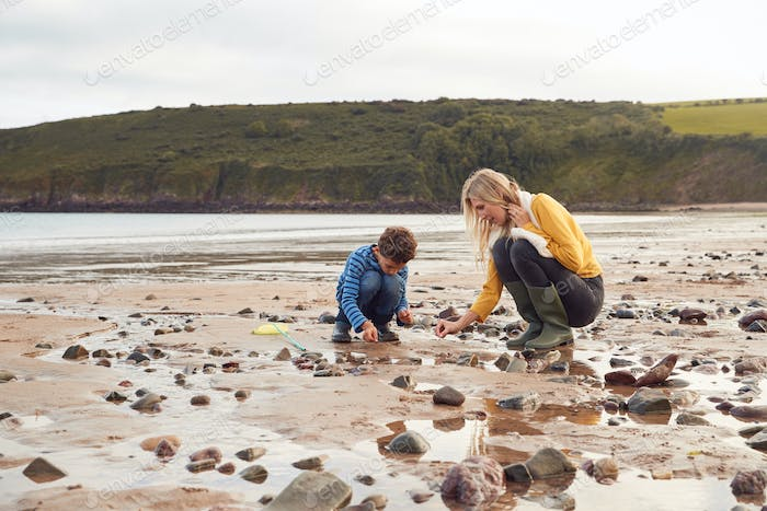 Family Looking In Rockpools On Winter Beach Vacation