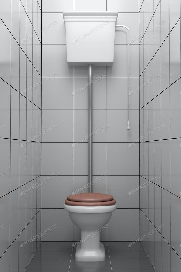 retro style toilet with gray tiles on wall and floor