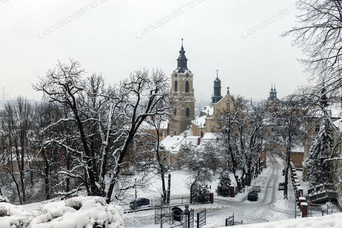 Przemysl Cathedral in winter scenery