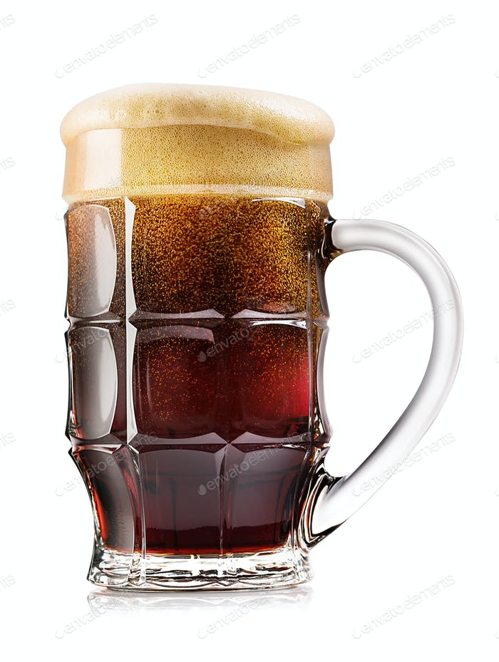 Faceted mug of dark beer