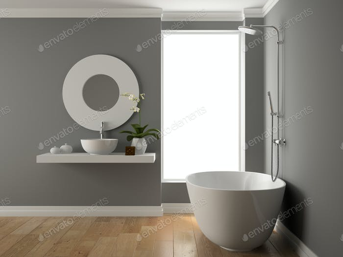 Interior of bathroom 3D rendering