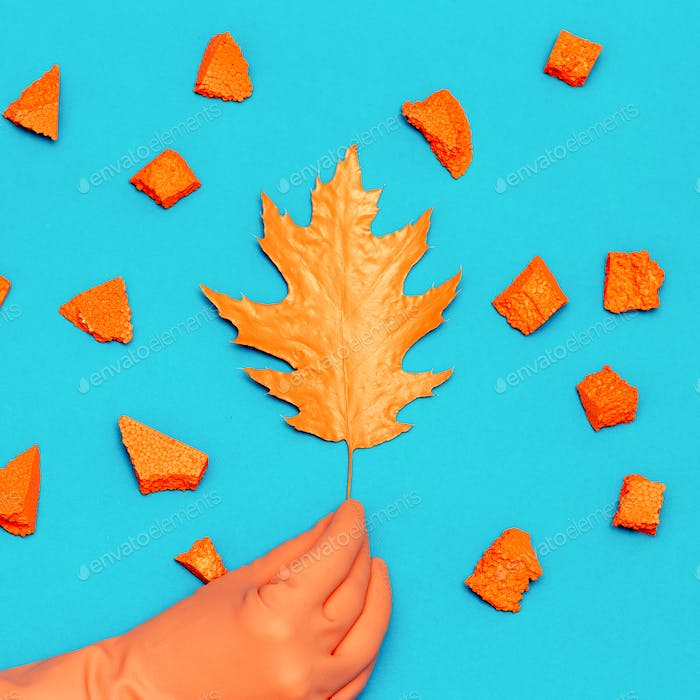 Art gallery. Autumn Colored Leaf and Hand Decor Minimal