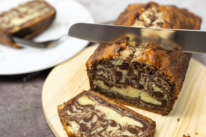 Marble chocolate pound cake or loaf bread