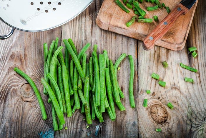 pods of fresh organic green beans