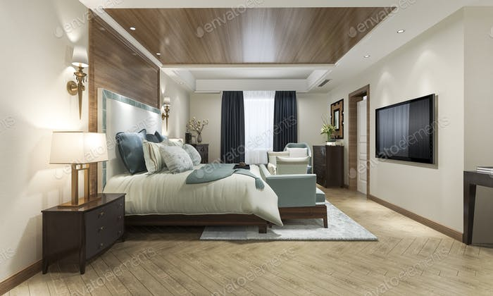 3d rendering classic luxury bedroom suite in hotel with tv and working table