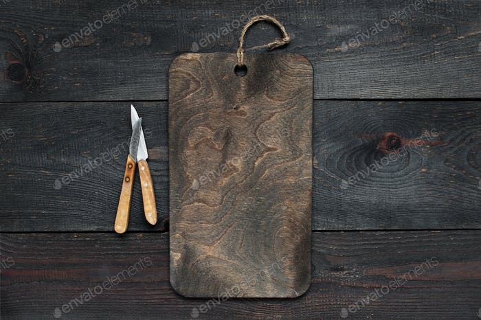 Dark Kitchen Background with Cutting Board