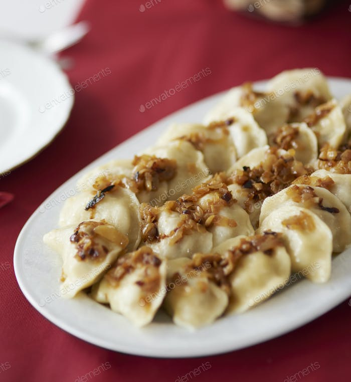 Traditional dumplings on the plate