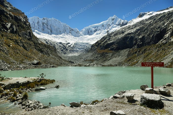Llaca lagoon, Ocshapalpa peak, and Ranrapalca peak, Peru