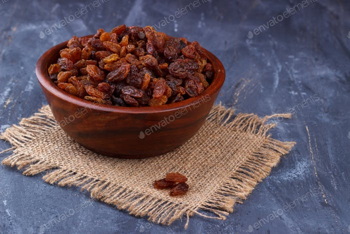 Closeup of sweet brown raisins
