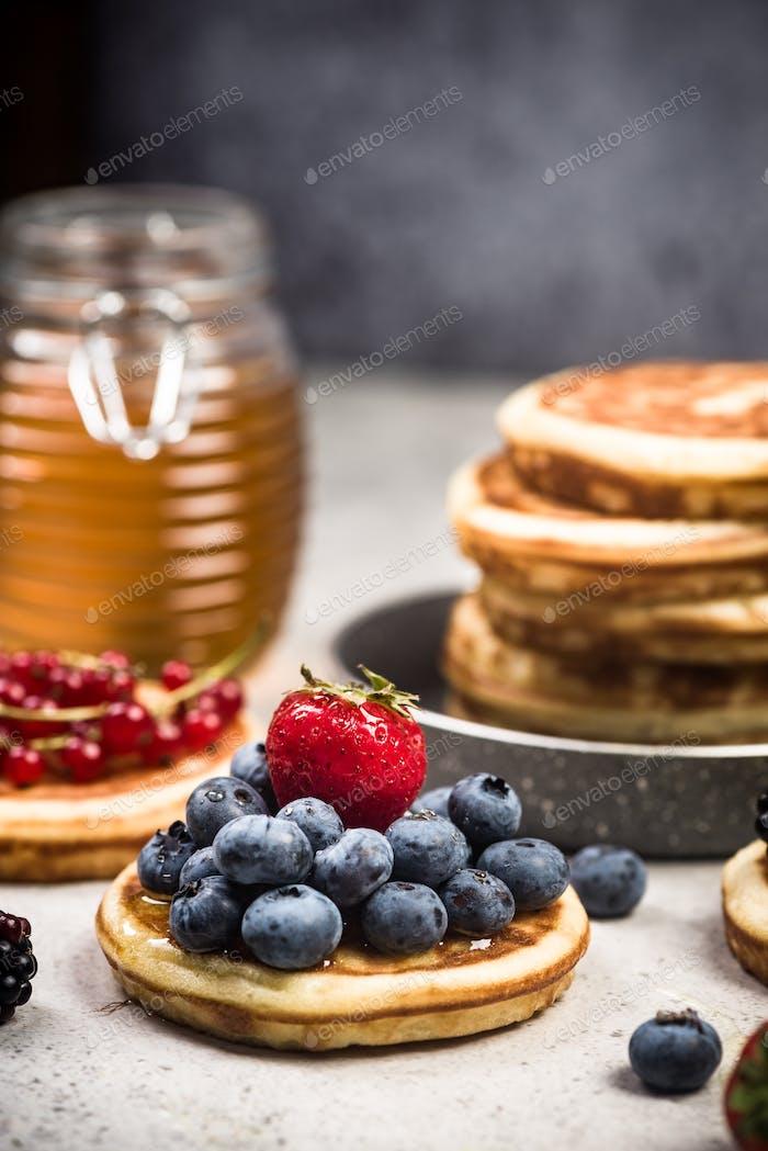 Homemade pancakes brunch