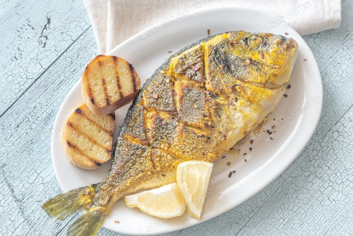 Fried saffron sea bream