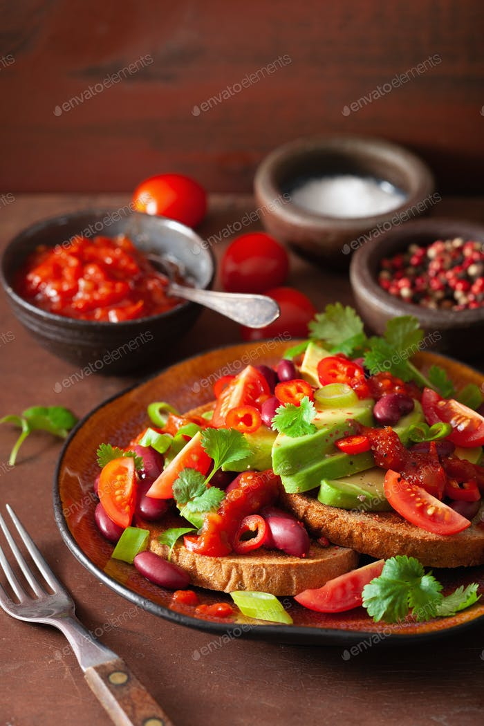mexican avocado bean sandwich with tomato chili scallion