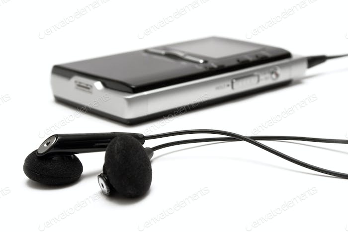 MP3 Player with Earbuds Isolated on a White Background