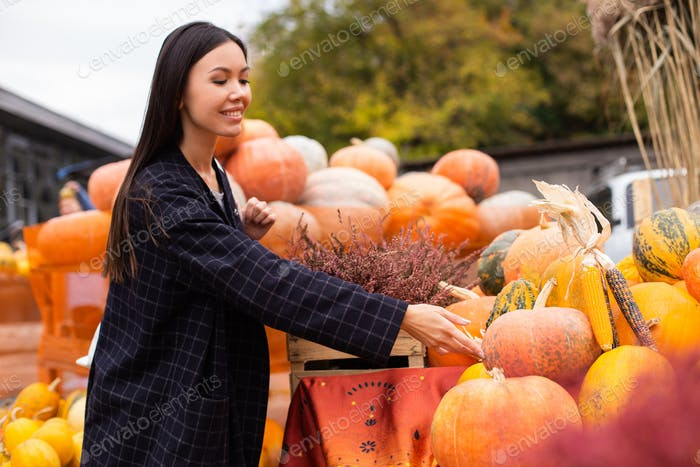 Young beautiful casual woman at farm shop happily looking for pumpkin for Halloween day outdoor