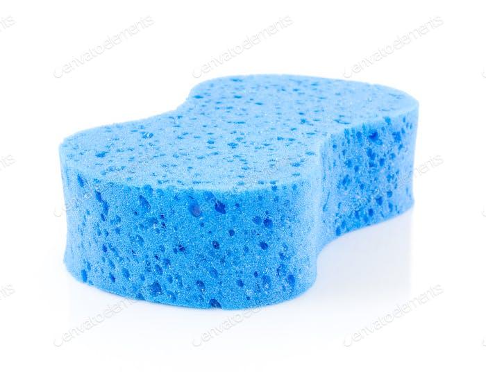 Blue sponge on white-2