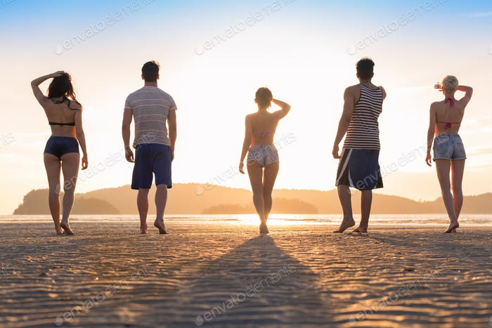 Young People Group On Beach At Sunset Summer Vacation, Friends Walking Seaside Back Rear View