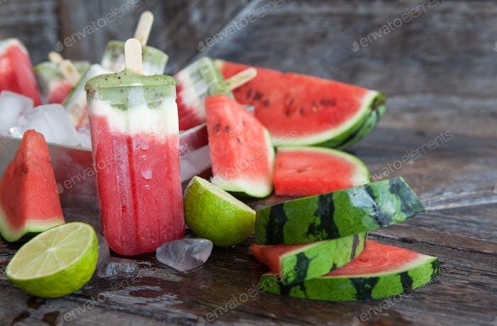 Frozen water melon popsicles