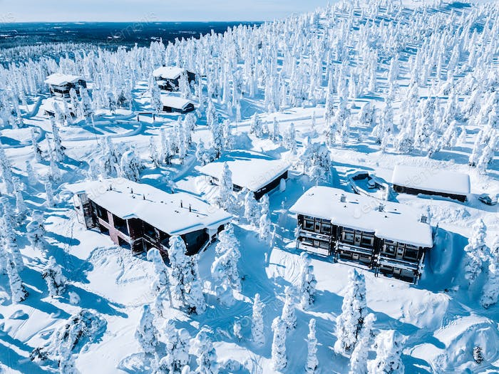 Aerial view of wooden log cabin and snow covered trees in winter Finland Lapland.