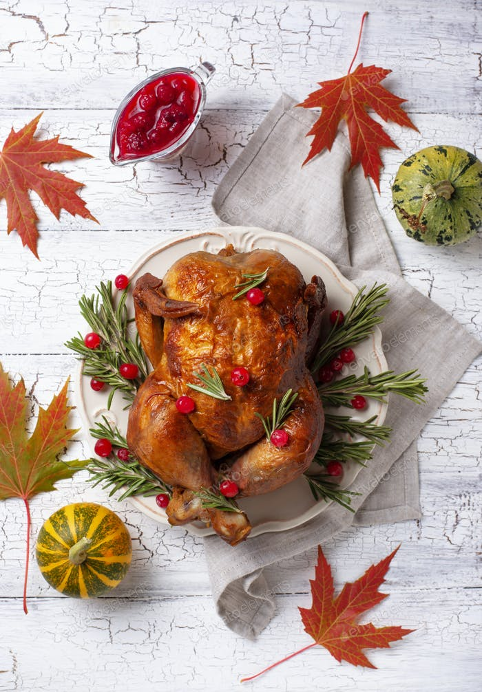 Baked turkey or chicken for holiday