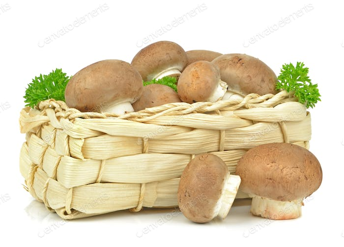 Brown Mushrooms in Basket