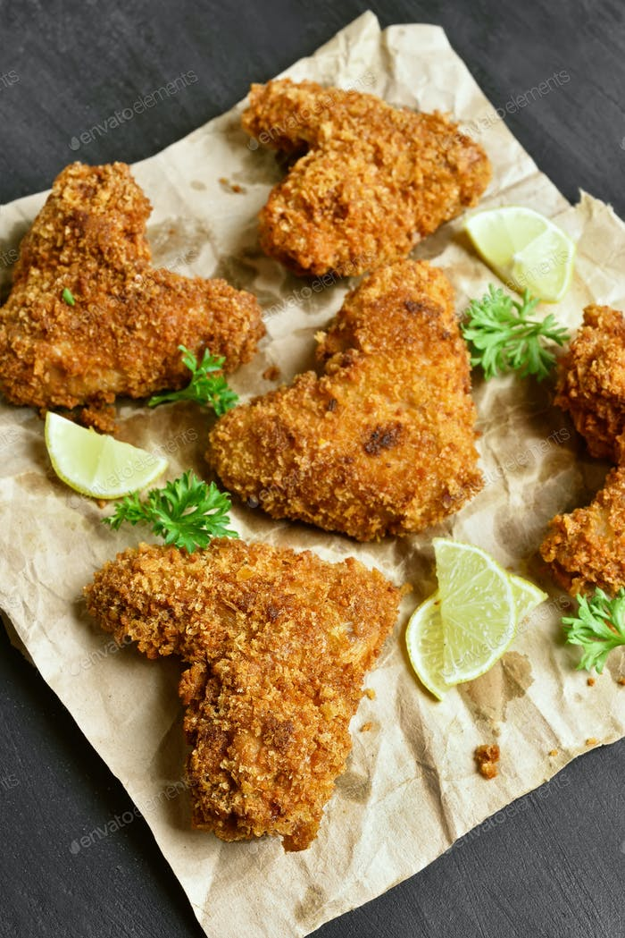 Breaded chicken wings, top view
