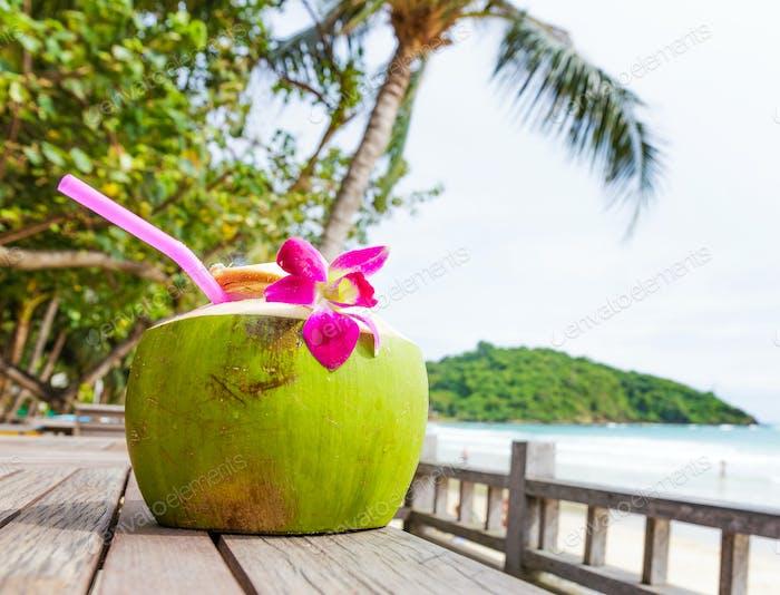 Coconut drink in the resort