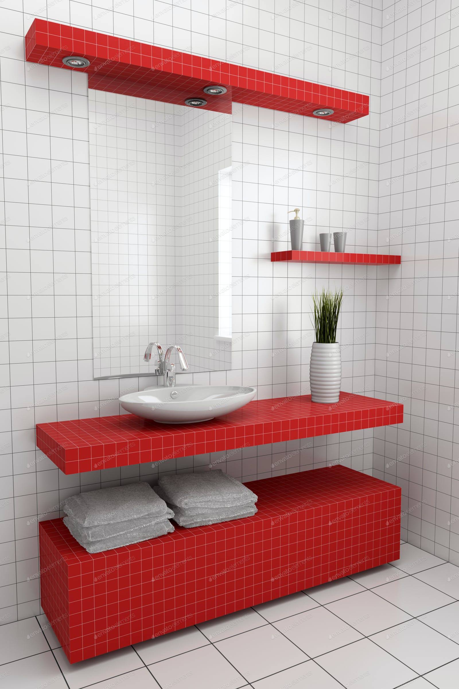 modern bathroom with red and white tiles on wall and floor photo by ...