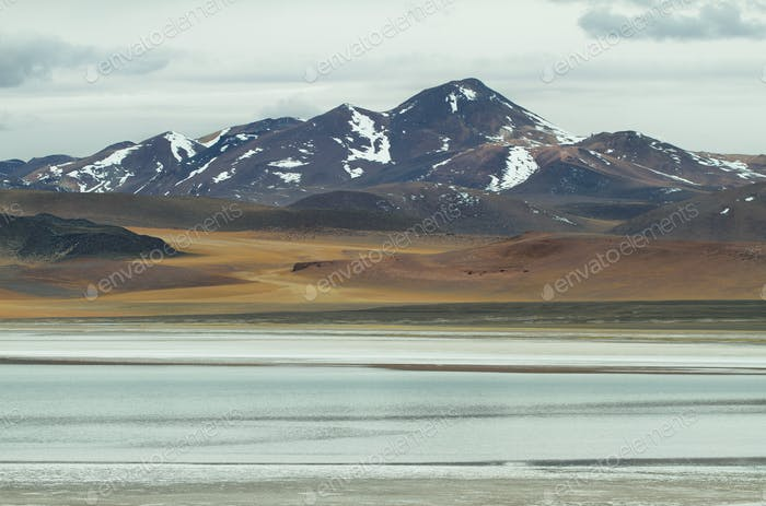 View of mountains and Tuyajto lagoon in Sico Pass