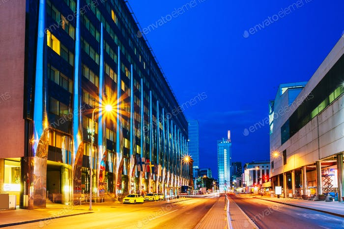 Tallinn, Estonia. Night View Of Hotel Building In Evening Or Nig