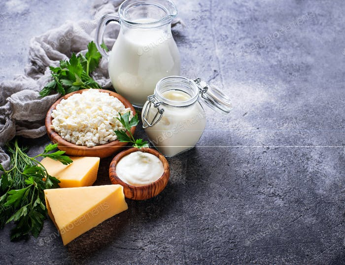 Assortment of various dairy products.