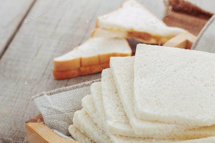 White bread on tray