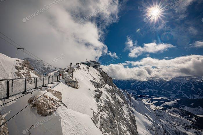 The snowy winter panorama of Dachstein Alps, Austria