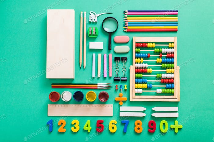 flat lay school supplies composition