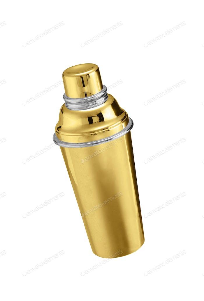 Goldene große Thermoskanne isoliert auf weiß