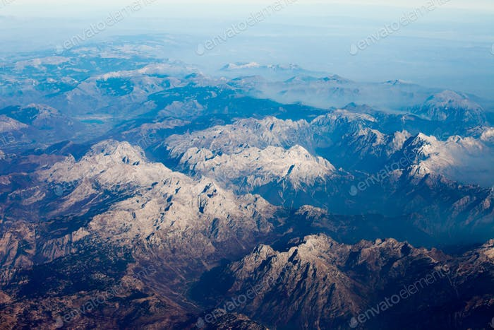 Albanian Alps rocky mountain tops aerial view