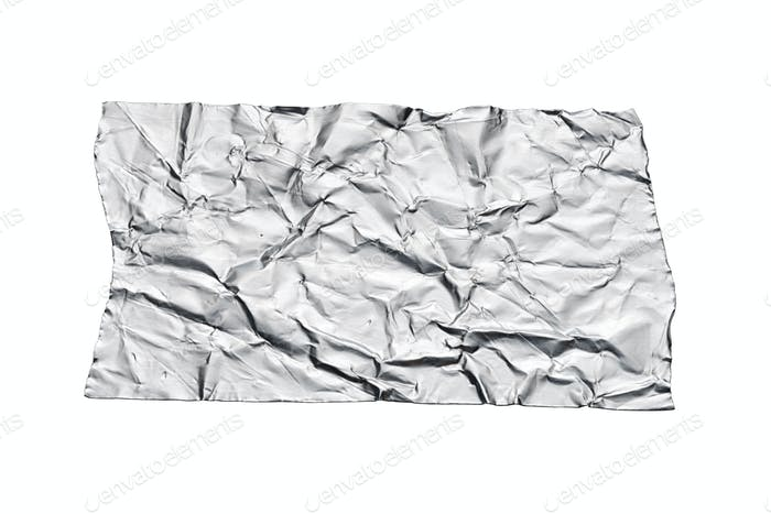 Crumpled aluminum foil tape sticker isolated on white