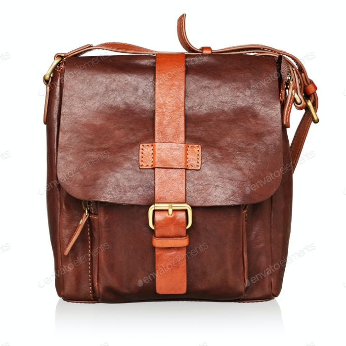 Brown leather bag isolated