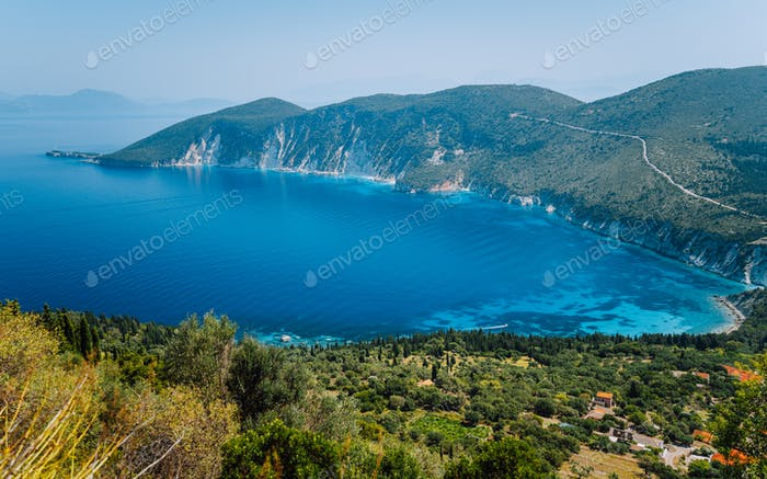 Amazing landscape of mediterranean island. Summer vacation. Greece, island Ithaki-view of the
