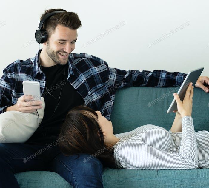 Cheerful couple enjoying weekend together